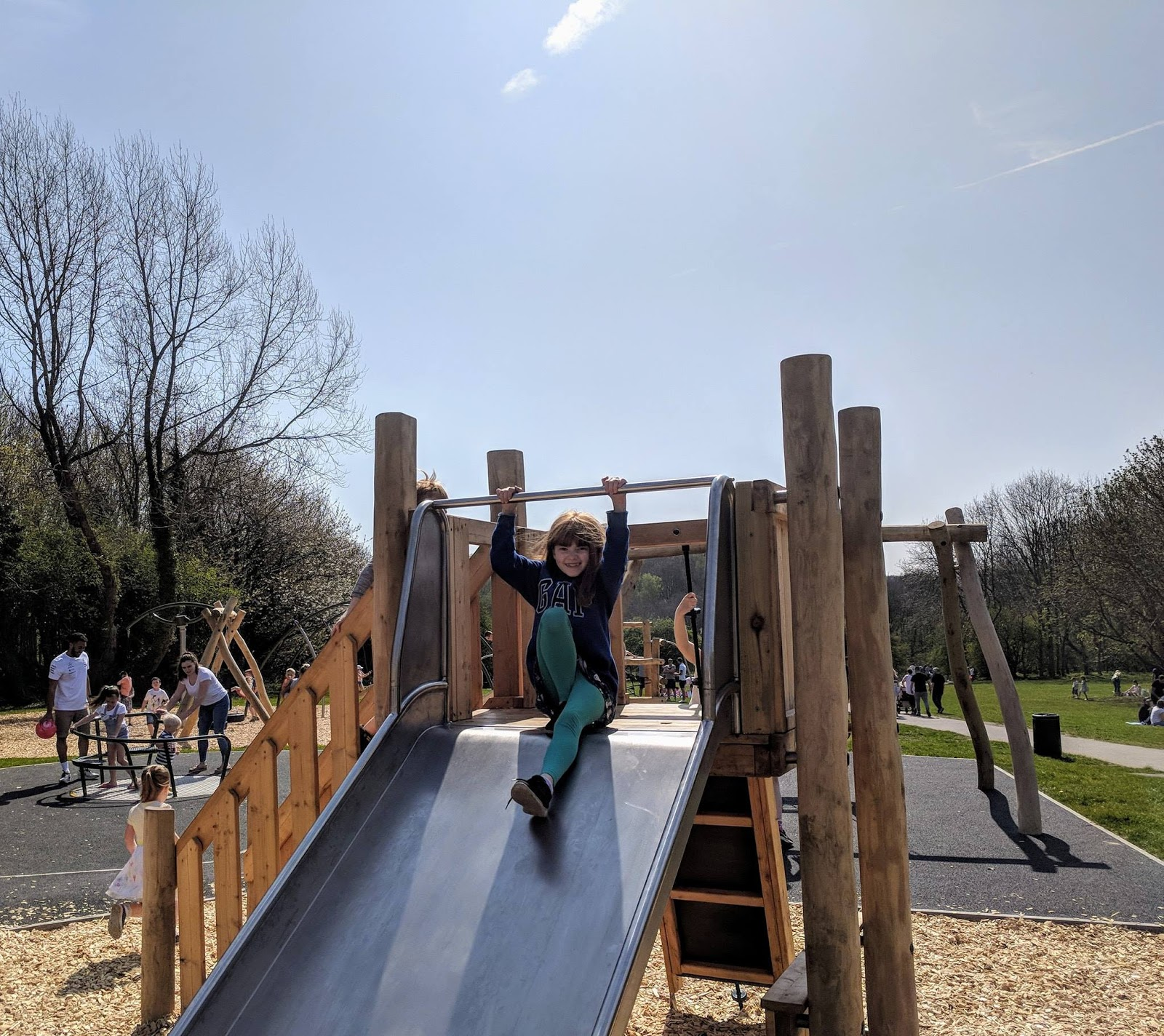 Plessey Woods Art Trail & New Play Park  - slide and roundabout