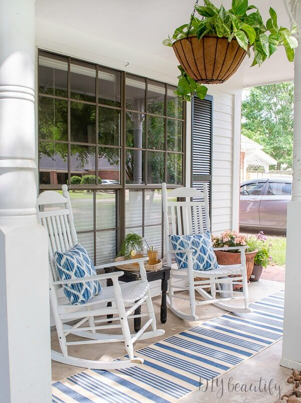 white rockers and blue striped runner