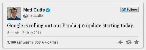 Twitt Matt Cutts Google Panda 4.0