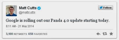 Twitt Matt Cutts Google Panda 4.0