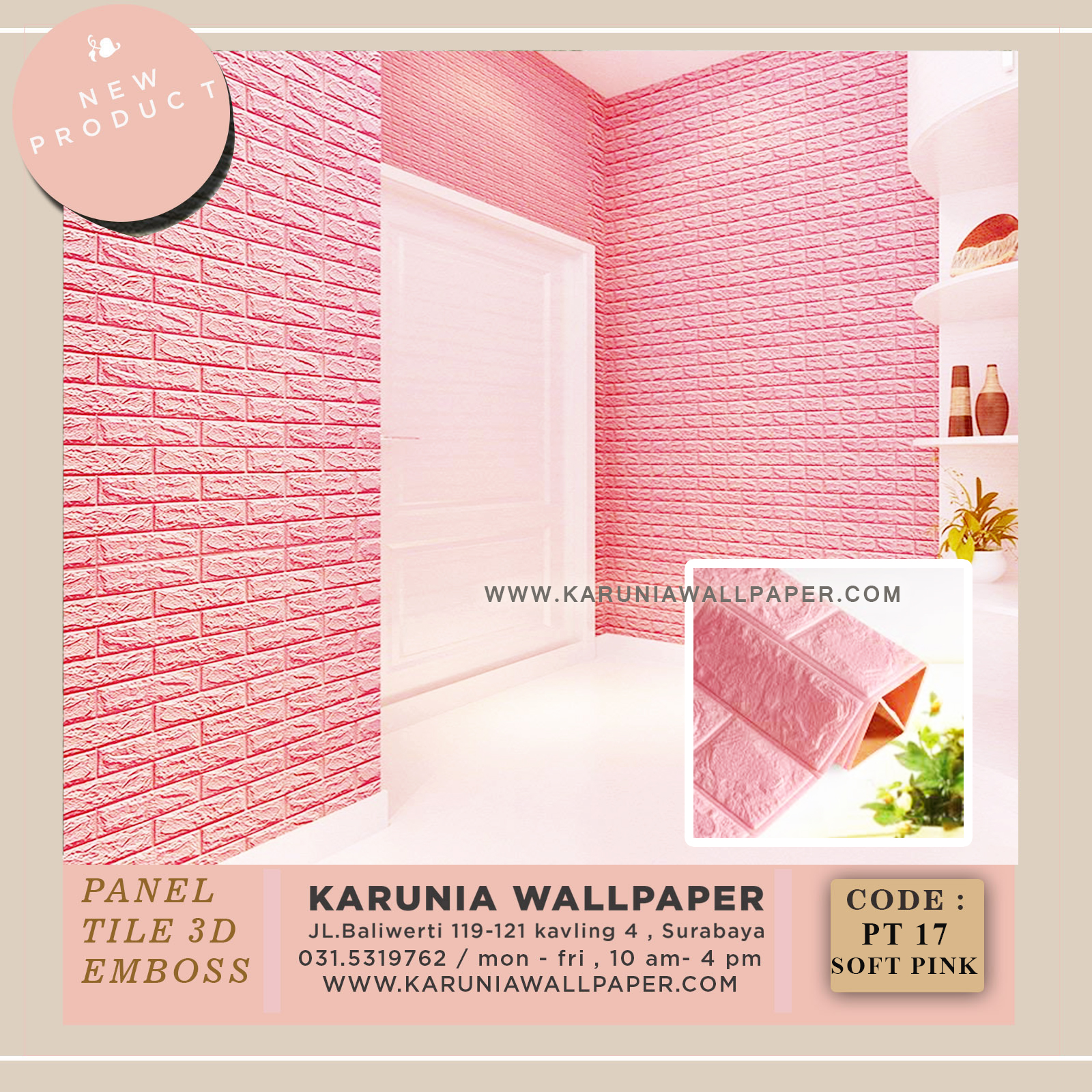 jual wallpaper bata pink