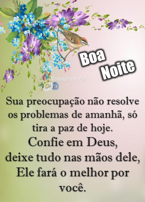 Sua preocupação não resolve   os problemas de amanhã,   só tira a paz de hoje.  Confie em Deus,   deixe tudo nas mãos dele,   Ele fará o melhor por você.  Boa Noite!