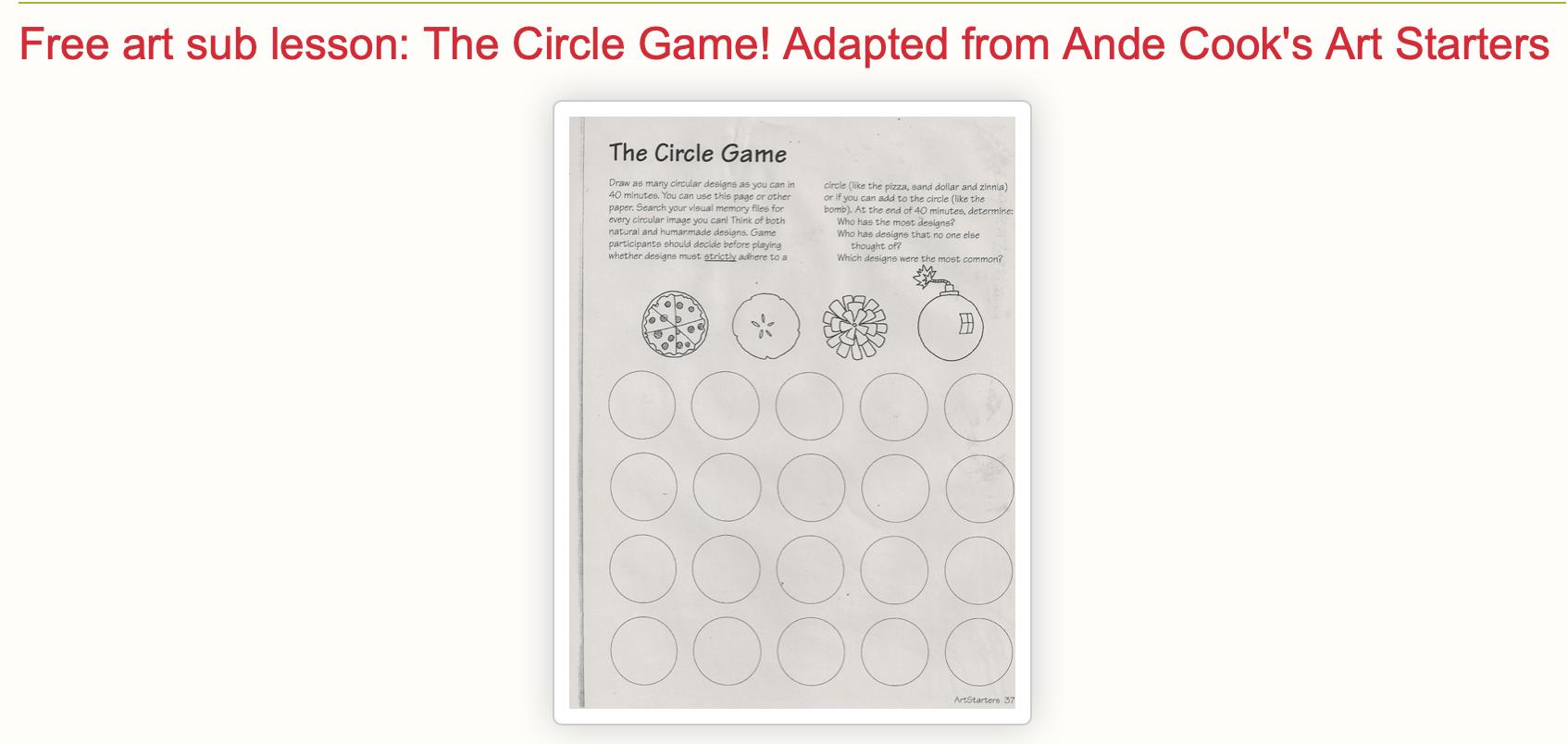 Art Sub Lessons Circle Drawing Worksheets