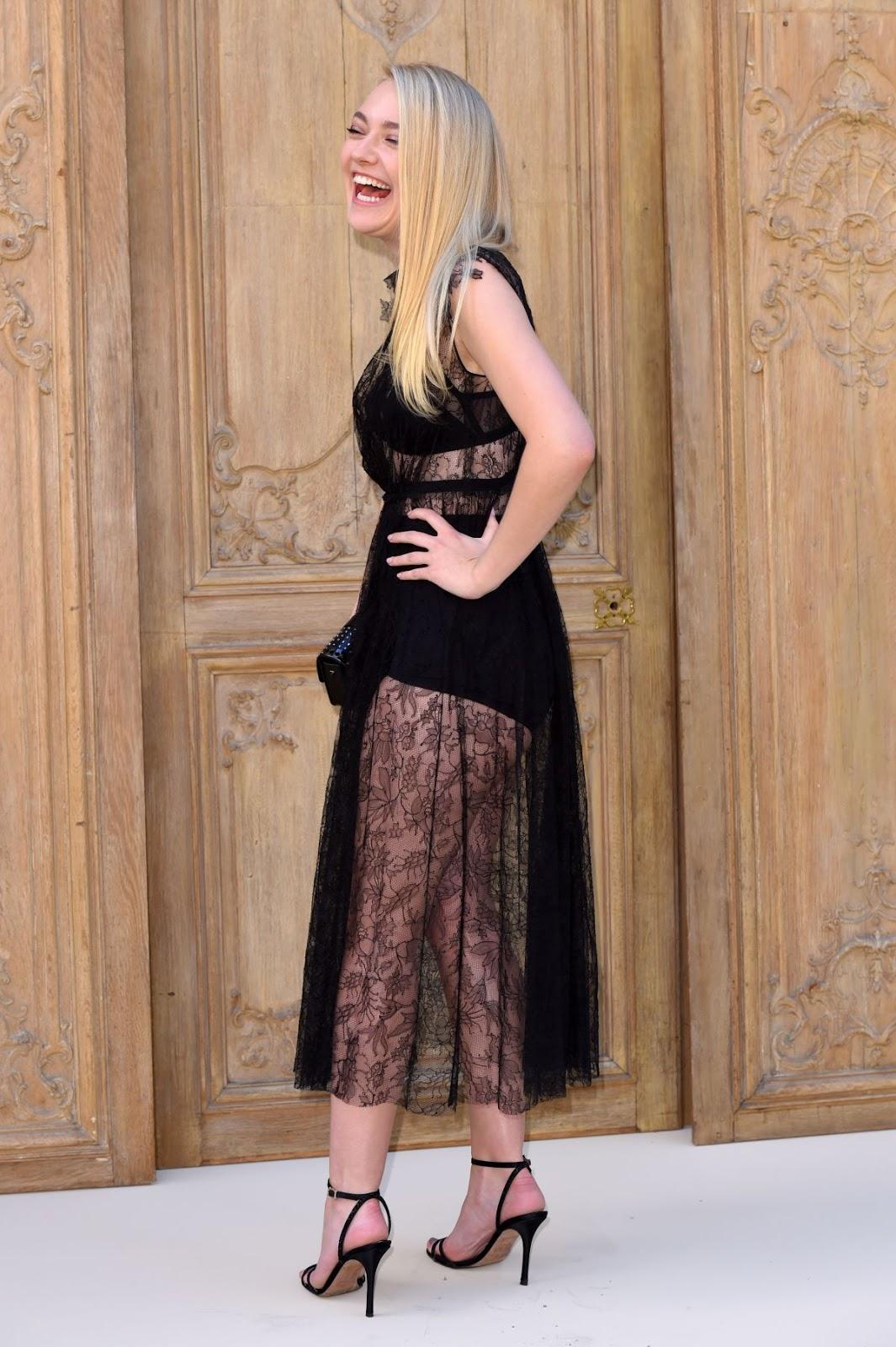 Dakota Fanning at Valentino Fashion Show in Paris
