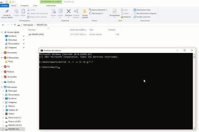 Comando cmd para mostrar archivos ocultos por virus