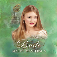 A Bride for Bode audiobook cover. A pretty girl gazes out from a green backdrop.