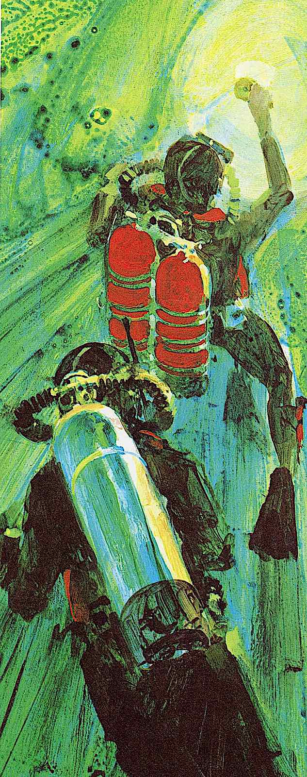 a 1970 illustration of scuba divers
