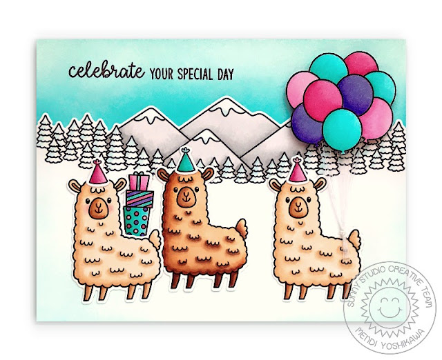 Sunny Studio Stamps: Celebrate Your Day Llamas in the Mountains Winter Card (using Lovable Llama, Country Scenes, Floating By & Inside Greetings Birthday Stamps)