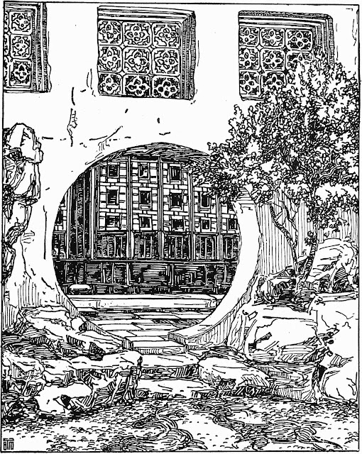 B.J. Morrison drawing of a courtyard with circular door