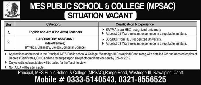 MES Public School & College Jobs 27 Oct 2019
