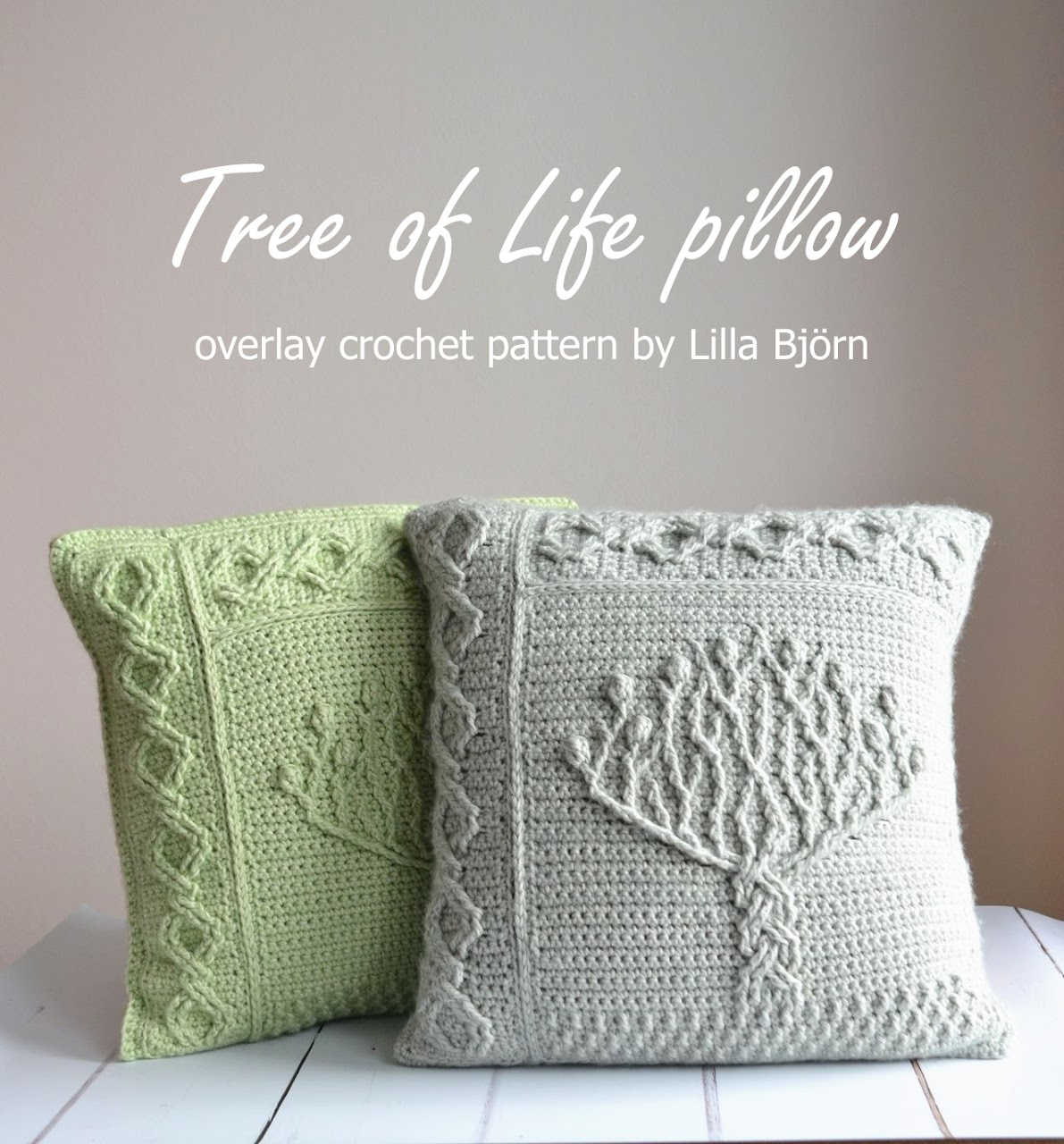 Tree of Life pillow - overlay crochet pattern by Lilla Bjorn