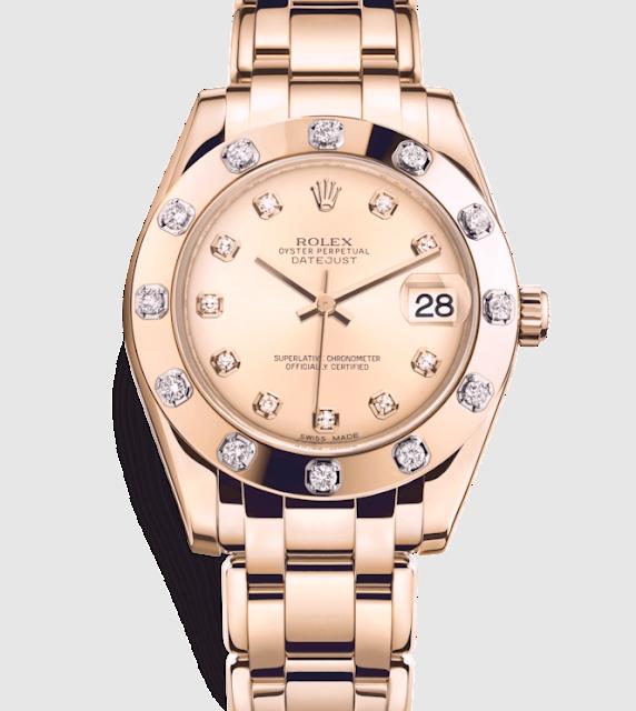 """أفضل ساعة رولكس نسائية """"Pearlmaster 34 Special Edition Goldus Diamond"""""""
