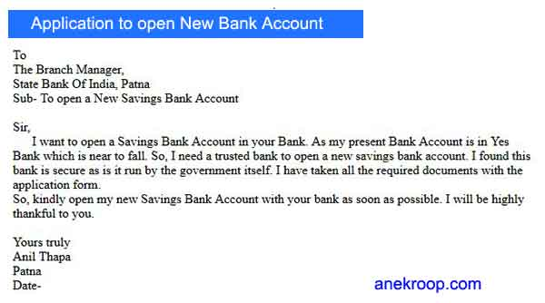 application to open new bank account