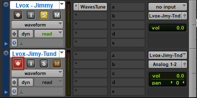 Track Record Enable button in Avid Pro Tools