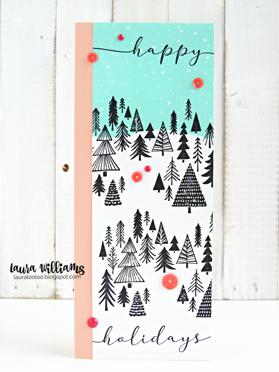 Click to see two different ideas for holiday slimline cards using the Slim Scenes stamps from Impression Obsession. Make a snowy background with whimsical Christmas trees for winter cards and paper crafts, eps