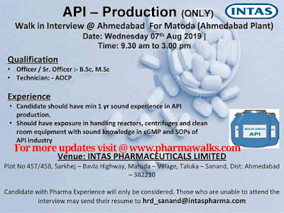 Intas Pharmaceuticals - Walk-in interview for Production on 7th August, 2019