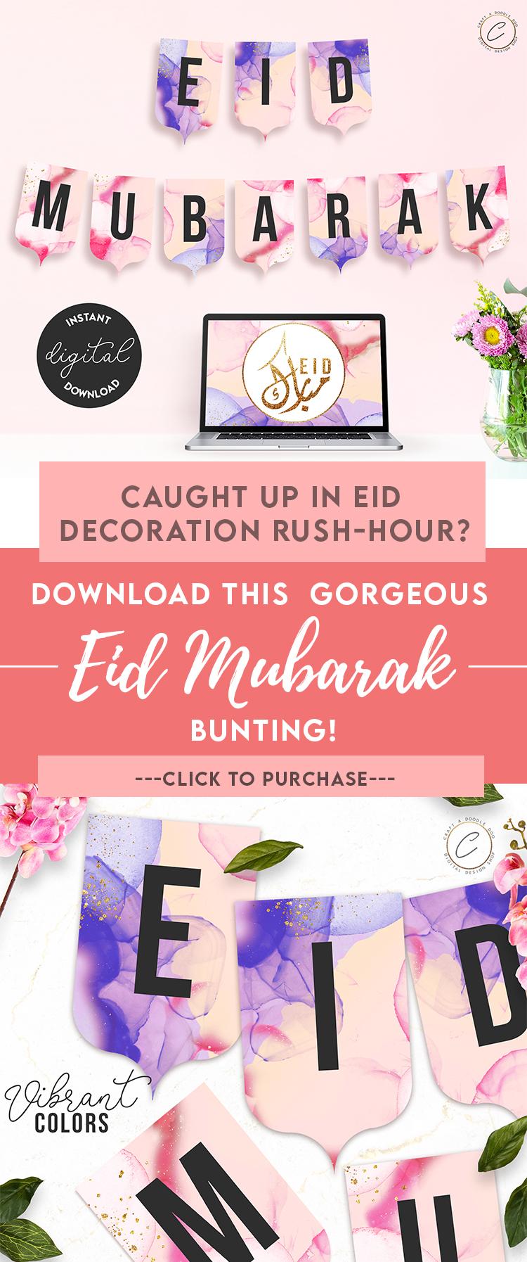 Eid Mubarak Bunting | Eid Al Adha Banner decoration | theme party diy decor for kids available on Etsy by Craft A Doodle Doo #eiddecorationideas #printableeidbanner #printableeidbunting #eidbannerdesign #eidhomedecor #eidwalldecor