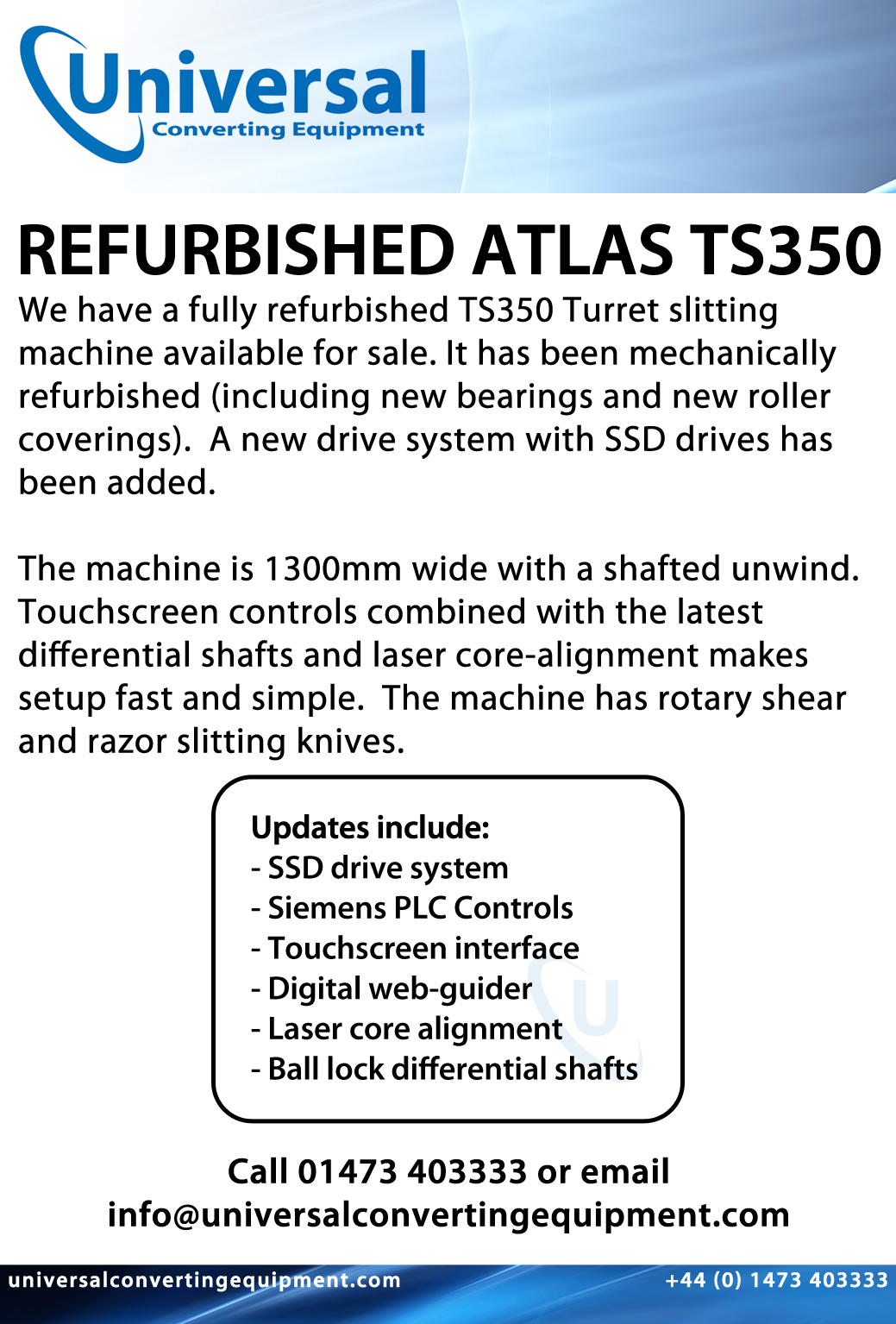 Universal Converting Equipment For Sale Atlas Ts350