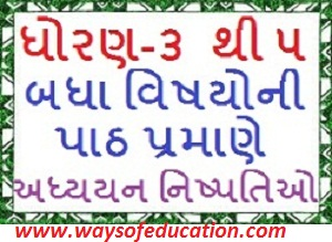 STD 3 TO 5 LESSON WISE ALL SUBJECT ADHYAYAN NISHPATTI(LEARNING OUTCOMES)
