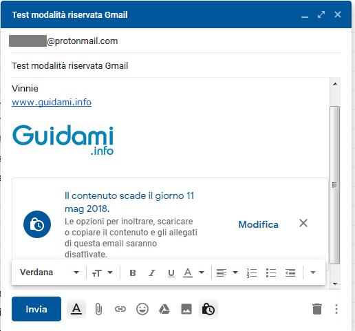 Gmail email da inviare con attivata la Modalità riservata