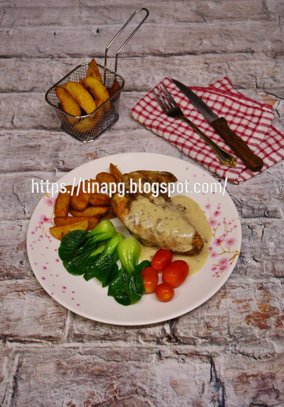 grill chicken  mushroom sauce resepi mudah   sedap teratak mutiara kasih Resepi Kentang Carbonara Enak dan Mudah