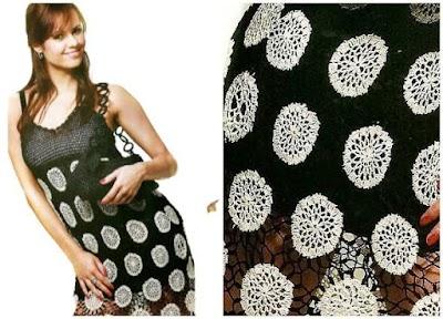 Vestido motivos círculos tejidos combinables a crochet