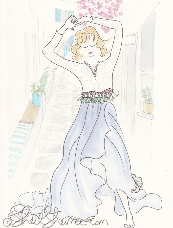 Fashion & Fluffballs Illustration : Ode to a Grecian Yearn © Shell-Sherree