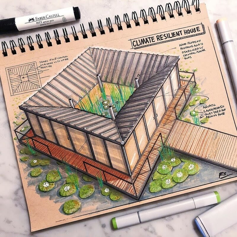 02-Floating-home-Reid-Schlegel-Colored-Architectural-Concept-Drawings-www-designstack-co
