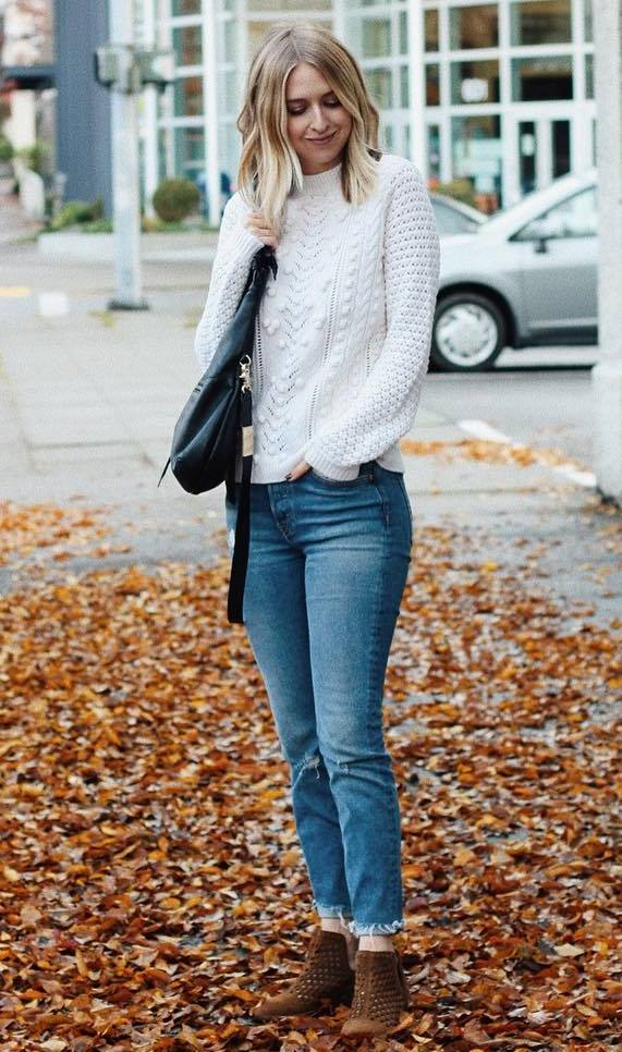trendy winter outfit idea to try right now / bag + white sweater + jeans + boots