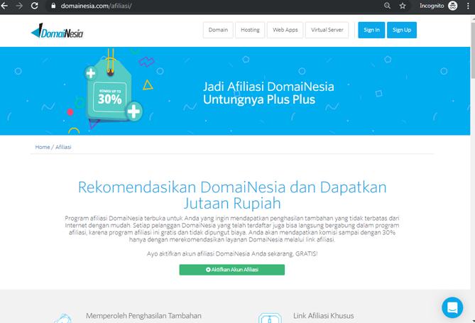 Tampilan informasi afiliasi di DomaiNesia