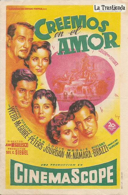 Programa de Cine - Creemos en el Amor - Clifton Webb - Dorothy McGuire - Jean Peters - Louis Jourdan
