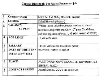 10th Pass and ITI Holders Permanent Job Campus Placement  For MRF Pvt Ltd At Govt. Model ITI Govindpura, Bhopal, Madhya Pradesh