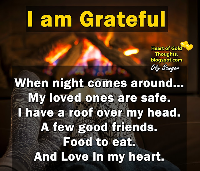 I am grateful when night comes around. My loved ones are safe. I have a roof over my head. A few good friends. Food to eat. And Love in my heart.