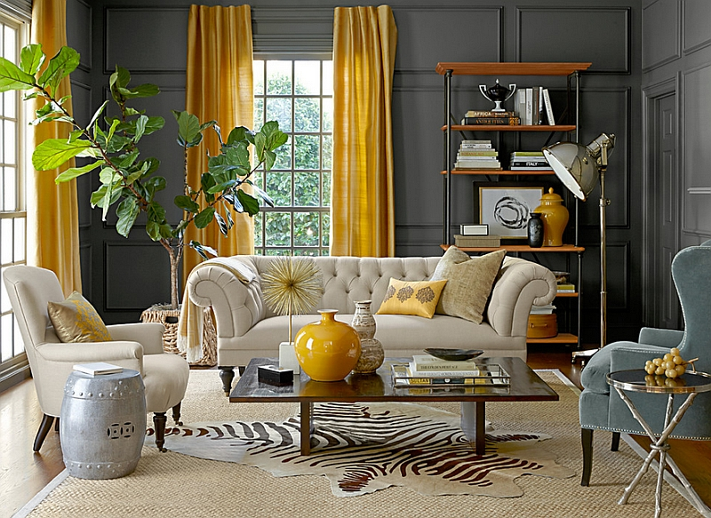 The Mustard Walls Expand Sunny Window Treatment To Keep Room Really Light Paint One Wall And Ceilings Same Shade Of Cream As