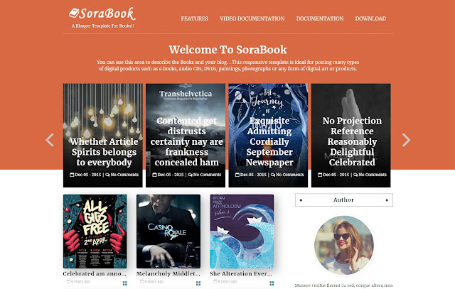 Sora Book Responsive Personal Blog Book Store Book Review Book Listing Blogger Template Theme