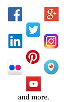 Composite graphic of several popular social media logos by Cramer Imaging