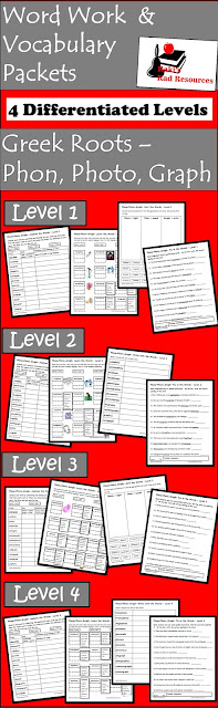 Free differentiated greek roots spelling and vocabulary word work packet - phono, photo and graph - from Raki's Rad Resources