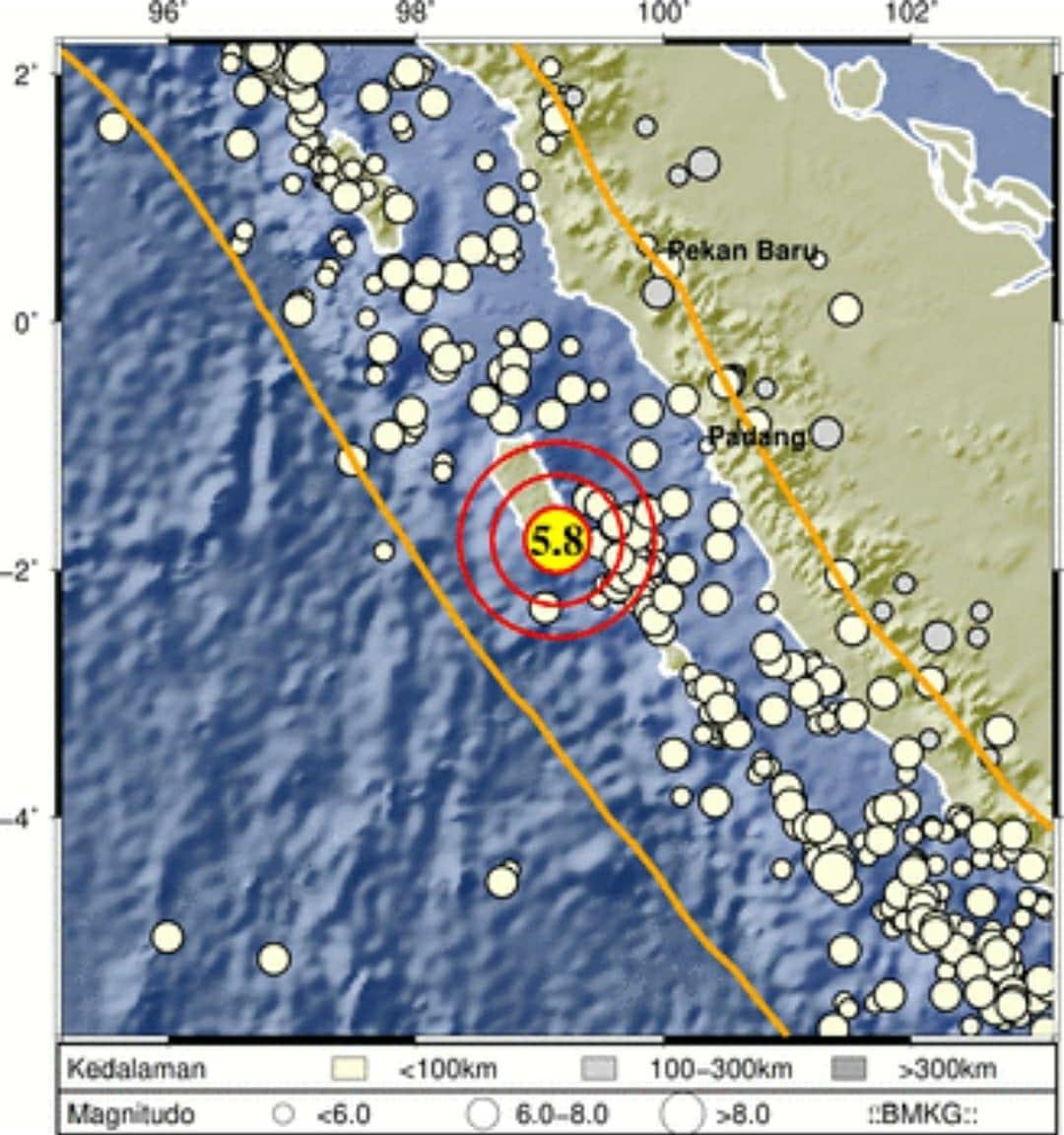 Gempa Bumi Berskala 5,8 Mangnitudo Menguncang Sumatera Barat