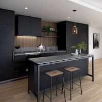 Black cabinet with gray countertop