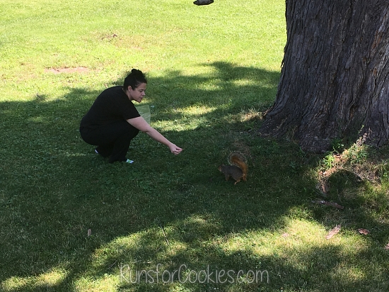 feeding one of the squirrels