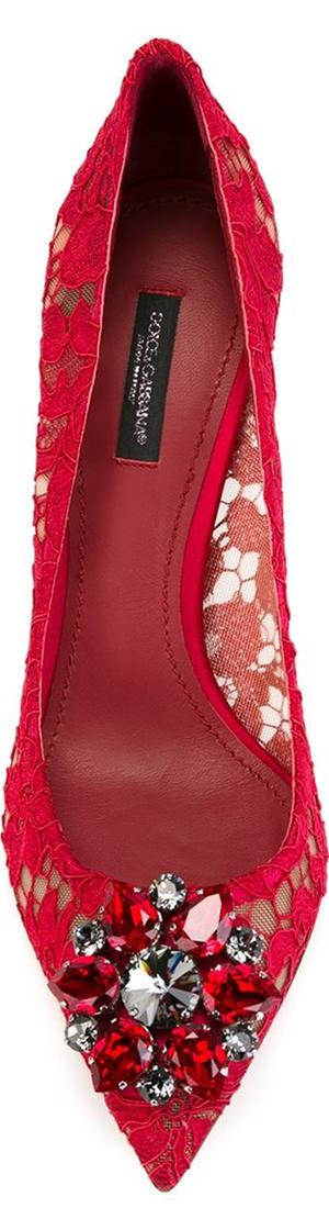 DOLCE & GABBANA Floral Lace Embellished Pumps, Red