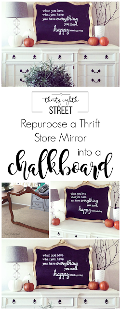 chalkboard, chalkboard sign, diy tutorial, how to make a sign, easy chalkboard tutorial, how to enlarge a print, how to make a giant sign, repurposed mirror