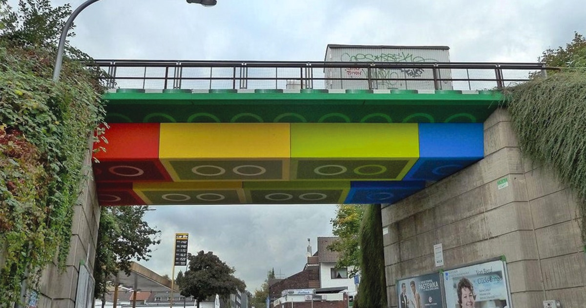 Street Artist Painted A Bridge In Germany To Resemble LEGO Bricks