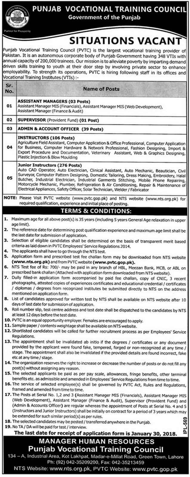 Punjab Vocational Training Council Jobs 2018