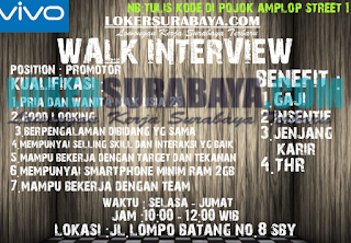 Walk In Interview di Vivo Surabaya Terbaru Juni 2019
