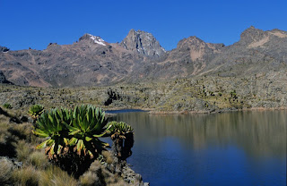 Mount Kenya Climbing tours and scenic views of Batian, Nalion and Point Lenana from Hall Tarns lakes