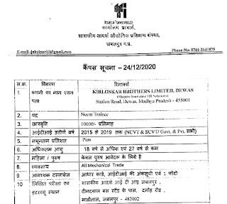 आईटीआई कैंपस प्लेसमेंट शासकीय आदर्श आई टी आई जबलपुर, मध्य प्रदेश में  किर्लोस्कर ब्रदर्स लिमिटेड द्वारा