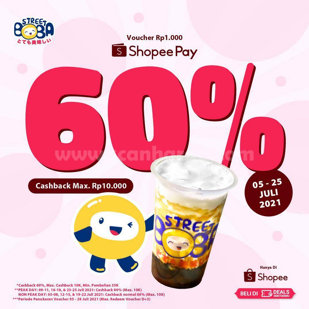 Street Boba Promo Voucher Cashback 60% dengan Shopeepay Deals