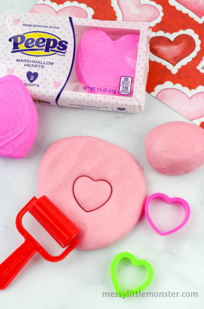 Valentine peeps playdough recipe