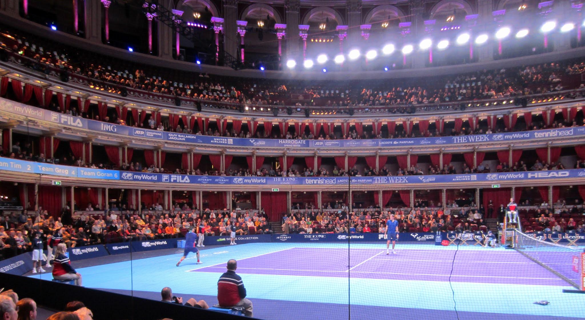 Marcos Baghdatis strikes a backhand at myWorld Champions Tennis